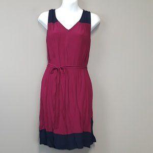 LOFT Pink colorblock Tie Waist Sleeveless Dress